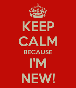 Poster: KEEP CALM BECAUSE I'M NEW!
