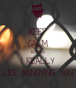 Poster: KEEP CALM BECAUSE I REALLY LIKE ANNOYING YOU