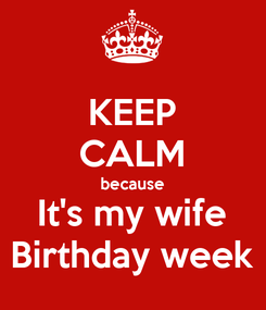 Poster: KEEP CALM because It's my wife Birthday week