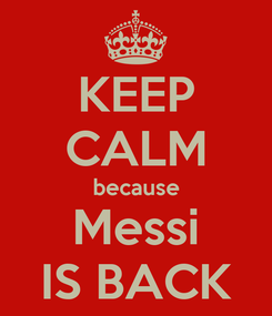 Poster: KEEP CALM because Messi IS BACK