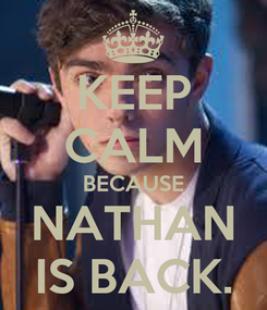 Poster: KEEP CALM BECAUSE NATHAN IS BACK.