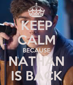 Poster: KEEP CALM BECAUSE NATHAN IS BACK