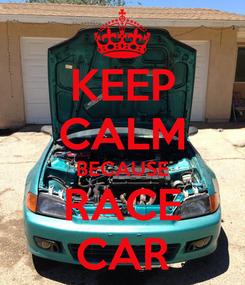 Poster: KEEP CALM BECAUSE RACE CAR
