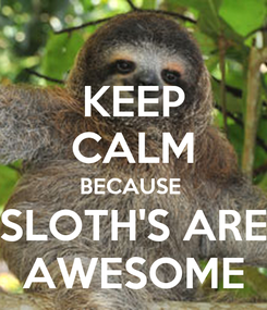 Poster: KEEP CALM BECAUSE  SLOTH'S ARE AWESOME