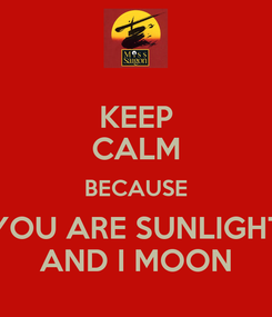 Poster: KEEP CALM BECAUSE YOU ARE SUNLIGHT AND I MOON