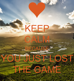 Poster: KEEP CALM BECAUSE YOU JUST LOST THE GAME