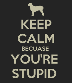 Poster: KEEP CALM BECUASE  YOU'RE  STUPID