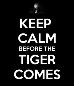 Poster: KEEP  CALM BEFORE THE TIGER COMES