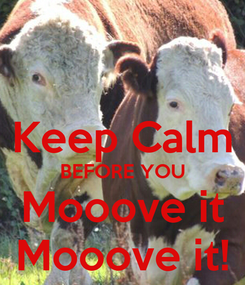 Poster:  Keep Calm BEFORE YOU Mooove it Mooove it!
