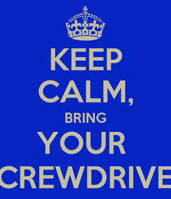 Poster: KEEP CALM, BRING YOUR  SCREWDRIVER