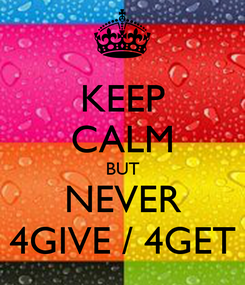 Poster: KEEP CALM BUT NEVER 4GIVE / 4GET