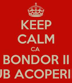 Poster: KEEP CALM CA  BONDOR II SUB ACOPERIRE
