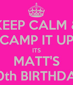 Poster: KEEP CALM & CAMP IT UP ITS MATT'S 30th BIRTHDAY