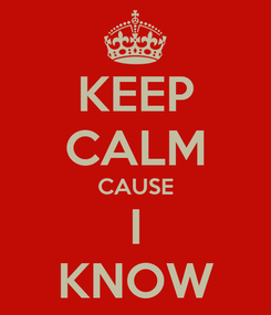 Poster: KEEP CALM CAUSE I KNOW