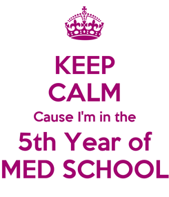 Poster: KEEP CALM Cause I'm in the 5th Year of MED SCHOOL