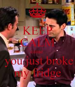 Poster: KEEP CALM cause   you just broke my fridge