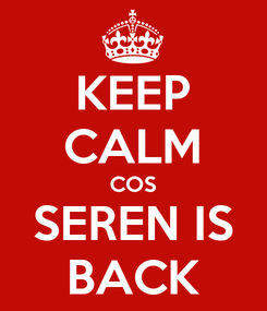 Poster: KEEP CALM COS SEREN IS BACK