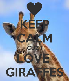 Poster: KEEP CALM CUZ I LOVE  GIRAFFES