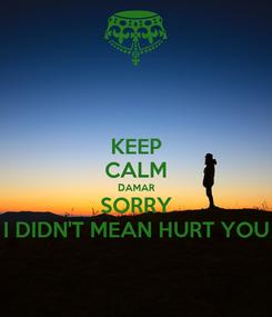 Poster: KEEP CALM DAMAR SORRY I DIDN'T MEAN HURT YOU