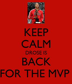 Poster: KEEP CALM DROSE IS BACK FOR THE MVP