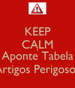 Poster: KEEP CALM E Aponte Tabela Artigos Perigosos