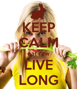 Poster: KEEP CALM eat raw LIVE LONG
