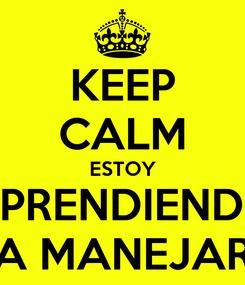 Poster: KEEP CALM ESTOY APRENDIENDO A MANEJAR