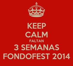 Poster: KEEP CALM FALTAN 3 SEMANAS FONDOFEST 2014