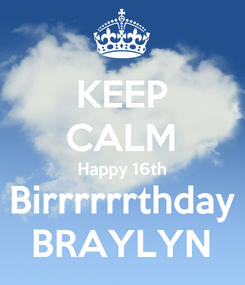 Poster: KEEP CALM Happy 16th Birrrrrrthday BRAYLYN