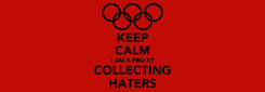 Poster: KEEP CALM I AM A PRO AT COLLECTING HATERS