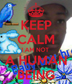 Poster: KEEP CALM I AM NOT  A HUMAN BEING