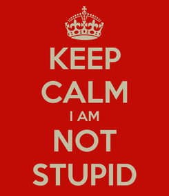 Poster: KEEP CALM I AM NOT STUPID
