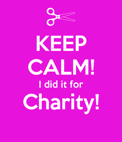 Poster: KEEP CALM! I did it for Charity!