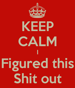 Poster: KEEP CALM I Figured this Shit out