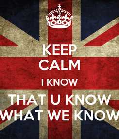 Poster: KEEP CALM I KNOW THAT U KNOW WHAT WE KNOW