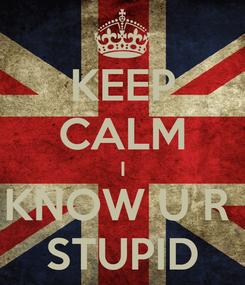 Poster: KEEP CALM I KNOW U R  STUPID
