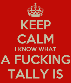 Poster: KEEP CALM I KNOW WHAT A FUCKING TALLY IS
