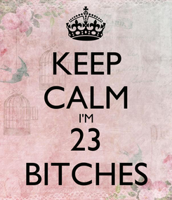 Poster: KEEP CALM I'M 23 BITCHES