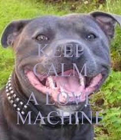 Poster: KEEP CALM I'M  A LOVE  MACHINE