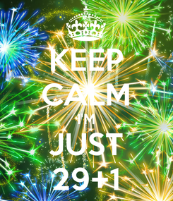 Poster: KEEP CALM I'M JUST 29+1
