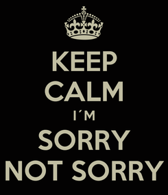 Poster: KEEP CALM I´M SORRY NOT SORRY