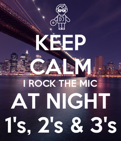 Poster: KEEP CALM I ROCK THE MIC AT NIGHT 1's, 2's & 3's