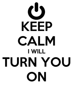 Poster: KEEP CALM I WILL TURN YOU ON