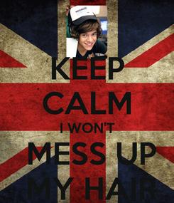 Poster: KEEP CALM I WON'T  MESS UP  MY HAIR