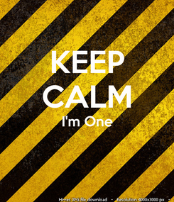 Poster: KEEP CALM I'm One