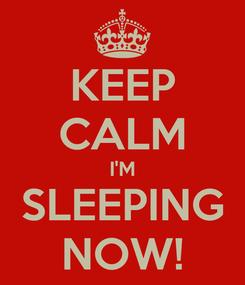 Poster: KEEP CALM I'M SLEEPING NOW!
