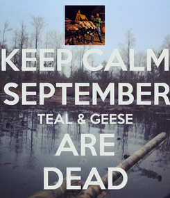 Poster: KEEP CALM & IN SEPTEMBER THE TEAL & GEESE ARE DEAD
