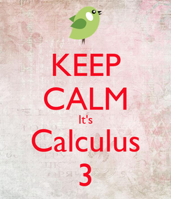Poster: KEEP CALM It's Calculus 3
