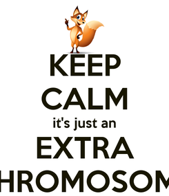 Poster: KEEP CALM it's just an EXTRA CHROMOSOME