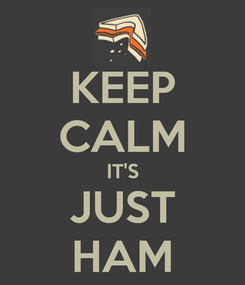 Poster: KEEP CALM IT'S JUST HAM